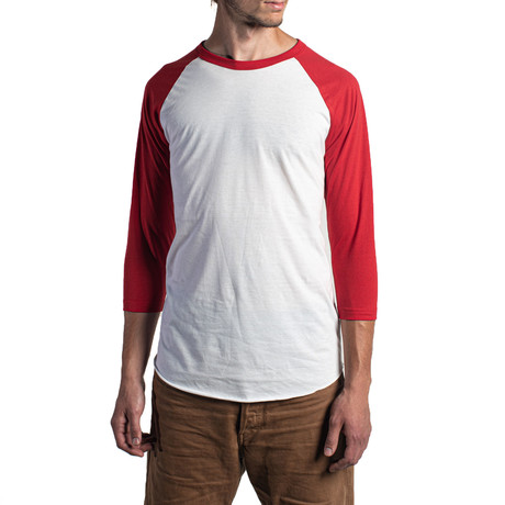 The Classic Long Sleeve Baseball Tee // White + Red (XS)