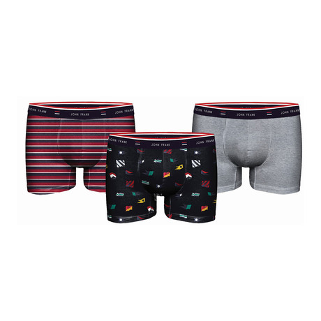 Feel Good Boxer // Red + Gray // Set of 3 (XS)