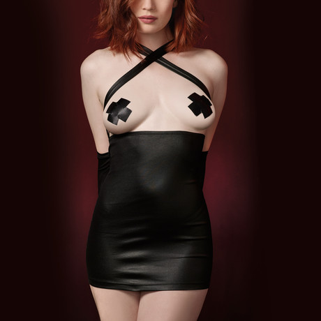 Faux-Leather Fetish Chemise + Attached Restraints // One Size