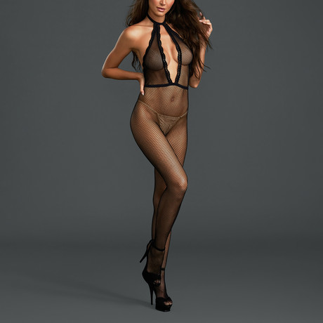 Fishnet Bodystocking with Plunging Halter Neckline // One Size