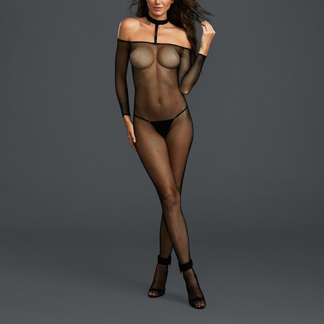 Off The Shoulder Fishnet Bodystocking + Attached Collar // One Size