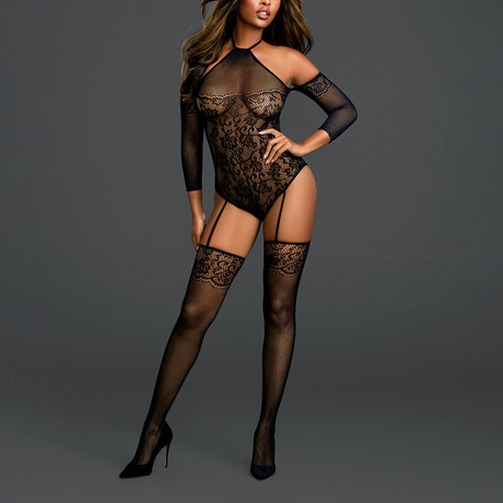 Fishnet Teddy Bodystocking + Attached 3/4 Length Sleeves // One Size