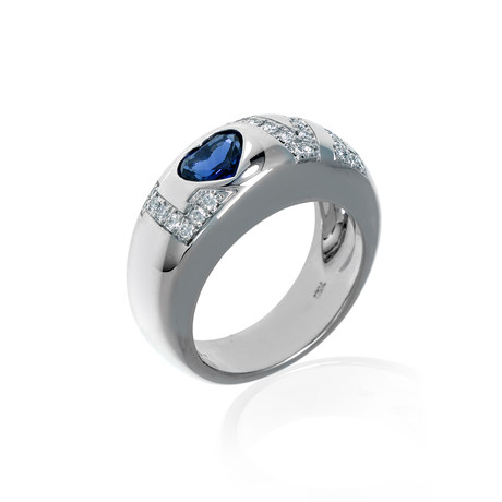 Chopard 18k White Gold Diamond + Sapphire Ring // Ring Size: 5.5