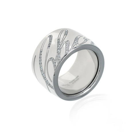 Chopard 18k White Gold Diamond Chopardissimo Ring // Ring Size: 6.5