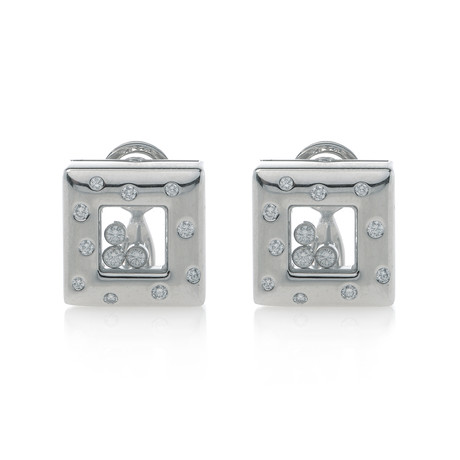 Chopard 18k White Gold Diamond Happy Diamonds Earrings I