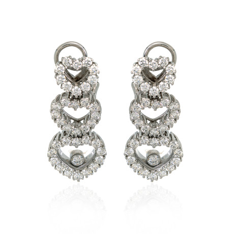 Chopard 18k White Gold Diamond Happy Diamonds Earrings II