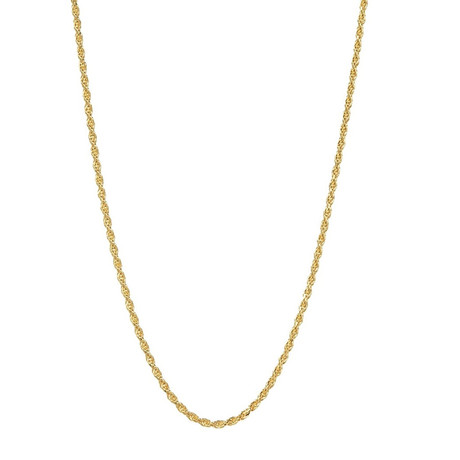 """Hollow 14K Italian Rope Chain Necklace // Yellow // 1.5mm (22"""" // 1.9g)"""