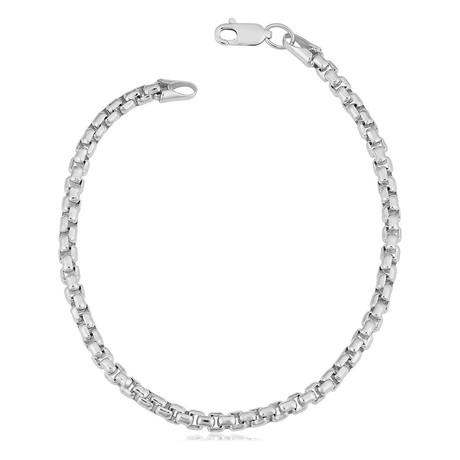 Hollow 14K Round Box Chain Bracelet // 2.5mm // White