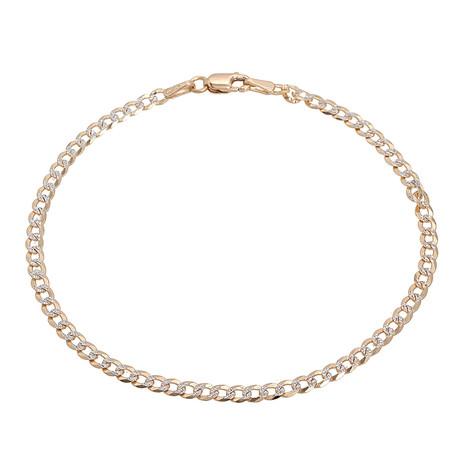 Hollow 10K Diamond Cut Cuban Chain Bracelet // 5mm // Yellow + White