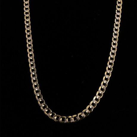 "Hollow 10K Diamond Cut Cuban Chain Necklace // Yellow + White // 5mm (22"" // 9.5g)"