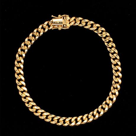 Semi-Solid 14K Miami Cuban Chain Bracelet // 6mm // Yellow