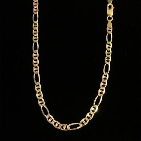 """Solid 14K Diamond Cut Pave Figarucci Chain Necklace // White + Yellow + Rose (20"""" // 12.7g)"""