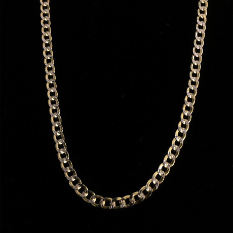 "Hollow 10K Diamond Cut Cuban Chain Necklace // 3.5mm // Yellow + White (20"" // 4.4g)"