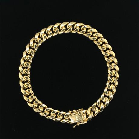 Semi-Solid 14K Miami Cuban Chain Bracelet II // Yellow