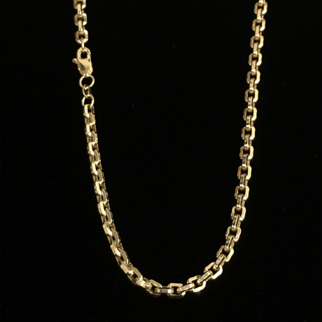 """Solid 14K Tiger Chain Necklace // Yellow (18"""" // 10.1g)"""