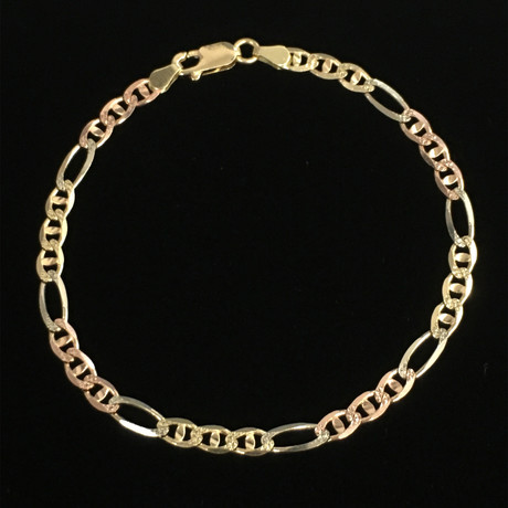 Solid 14K Diamond Cut Pave Figarucci Chain Bracelet // 4mm // White + Yellow + Rose