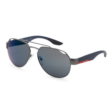 Men's PS57US-DG138759 Sunglasses // Gunmetal Rubber + Blue