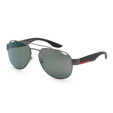 Men's PS57US-DG13C059 Sunglasses // Gunmetal Rubber + Light Green Mirror