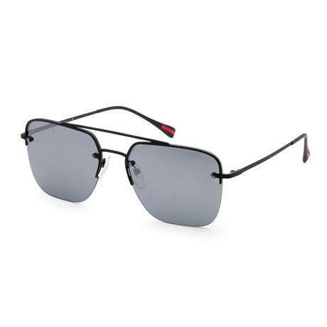 Prada // Men's PS54SS-DG05L059 Sunglasses // Black Rubber + Gray Mirror