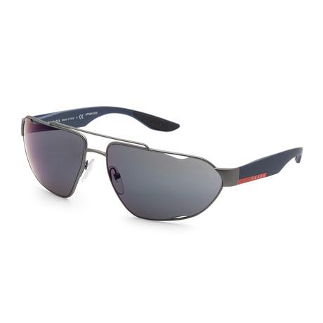 Prada // Men's PS56US-DG138766 Sunglasses // Gunmetal Rubber + Blue