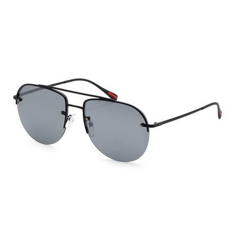 Men's PS53SS-DG05L059 Sunglasses // Black Rubber + Gray Mirror