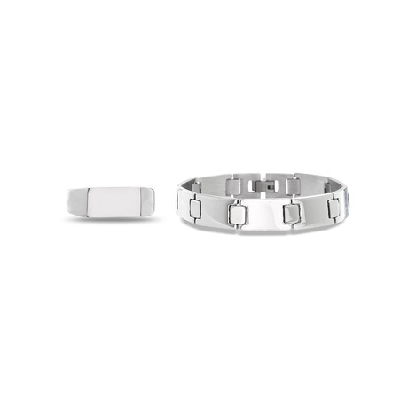 Cubic Zirconia Polished Band Ring + Link Chain Bracelet Set // Silver