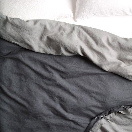 Reversible Belgian Flax Linen Duvet Cover // Dark Gray + Smokey Gray (Queen)