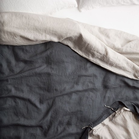 Reversible Belgian Flax Linen Duvet Cover // Dark Gray + Dove Gray (Queen)