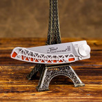 Liner Lock Thiers Pocket Knife // Eiffel Tower Style (Orange Scales)