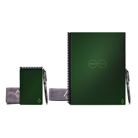 Rocketbook Core // Lined and Dot-Grid Notebook Bundle // 1 Letter Size + 1 Mini // Terrestrial Green Cover
