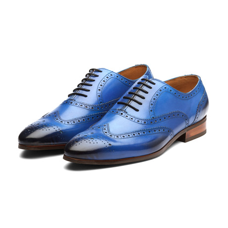Blue Leather Wingtip Brogue Oxford Shoes (US: 7)