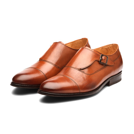 William Leather Monkstrap Shoes // Cognac (US: 7)