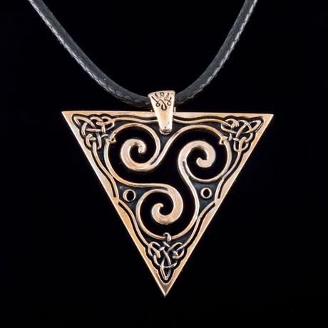 Bronze Viking Collection // Spiral Triskele Pendant