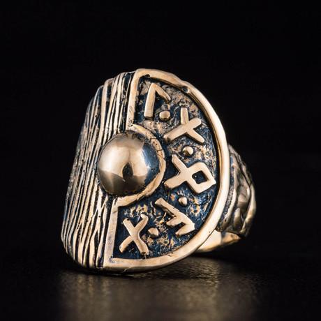Bronze Viking Collection // Viking Shield Ring + Runes Ring (6)