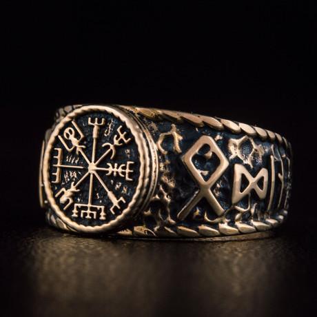 Bronze Viking Collection // HAIL ODIN Ring + Vegvisir (6)