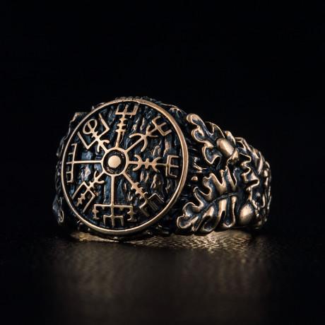 Bronze Viking Collection // Oak Leaves Signet + Vegvisir (6)