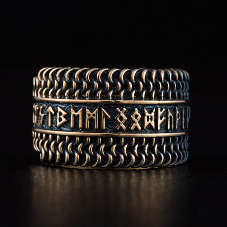 Bronze Viking Collection // Elder Futhark Ring + Chainmail (6)