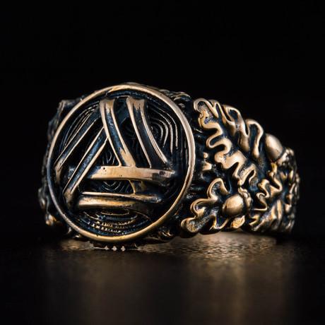 Bronze Viking Collection // Oak Leaves Signet + Valknut (6)