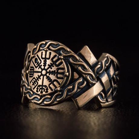 Bronze Viking Collection // Aarhus Adjustable Signet + Vegvisir (6)
