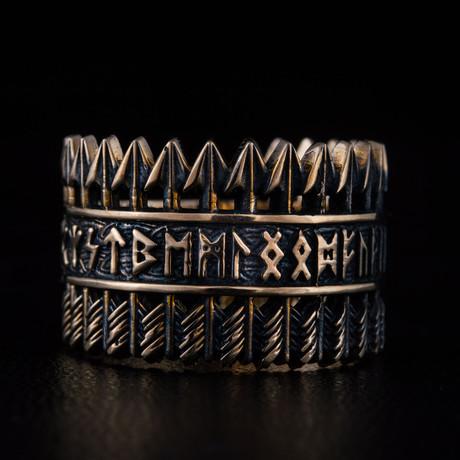 Bronze Viking Collection // Elder Futhark Ring + Arrows (6)