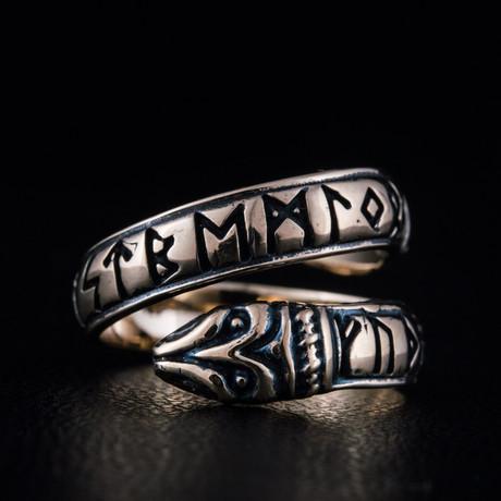 Bronze Viking Collection // Jormungandr Ring + Runes (6)