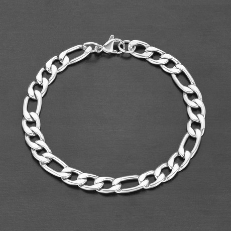 Polished Figaro Chain Bracelet (White)