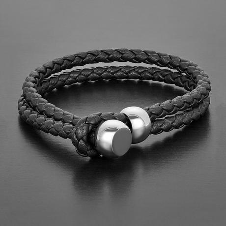 Peg Toggle Bracelet (Black + Silver)
