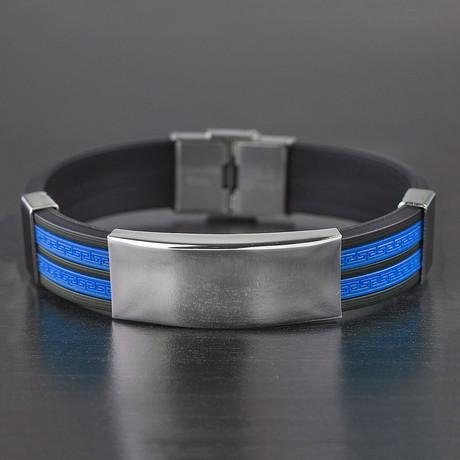 Greek Key Inlay ID Plate Rubber Bracelet // Blue + Silver