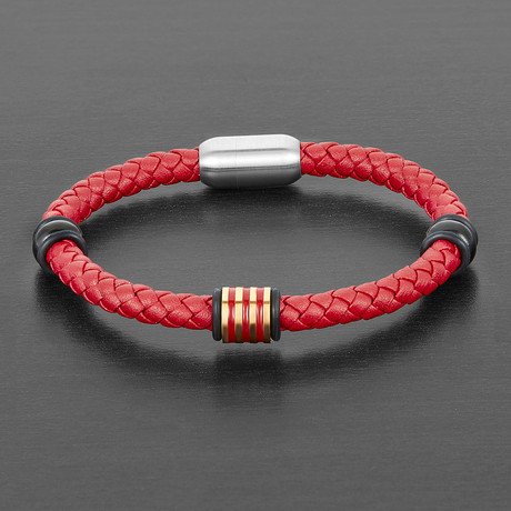 Accented Leather Bracelet (Red + Black + Silver)