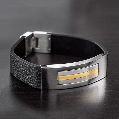 Striped ID Plate + Leather Bracelet (Black + Silver + Gold)