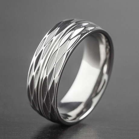Polished Titanium Honeycomb Texture Ring // Silver (Size 7)