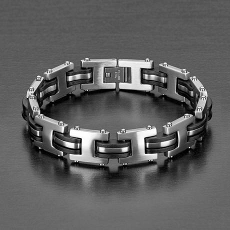 Brushed Steel + Rubber Inlay Link Bracelet // Black + Silver