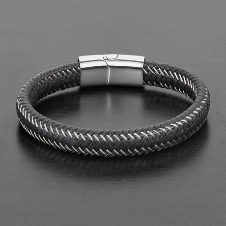 Intertwined Stainless Steel + Leather Bracelet (Black + Silver)