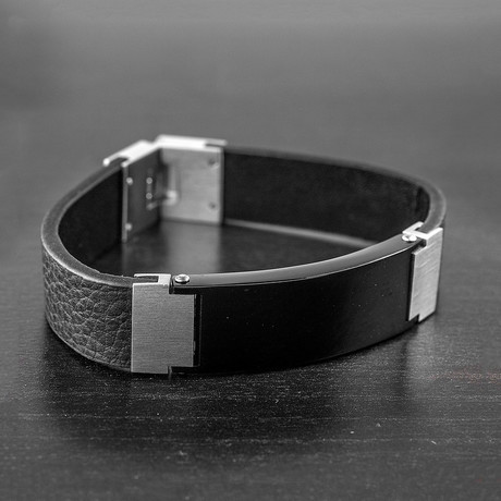 Stainless Steel ID Plate + Leather Bracelet // Black + Silver